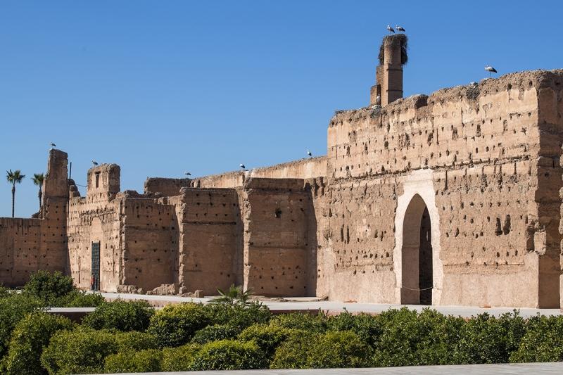 0861R-Störche-Marrakesch-Marokko-Palais-EL-Badi