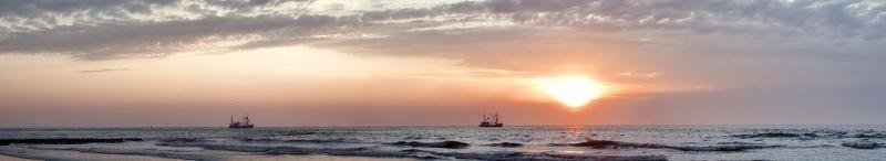 1794i-97i Nordseepanorama Krabbenfischer in Sonnenuntergansstimmung
