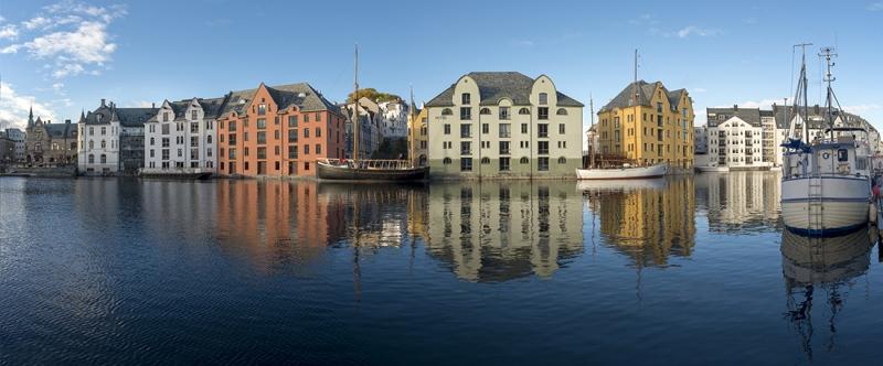 Alsesund Norwegen Hafen Panorama