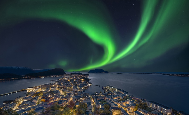 Nordlicht in Alesund Norwegen