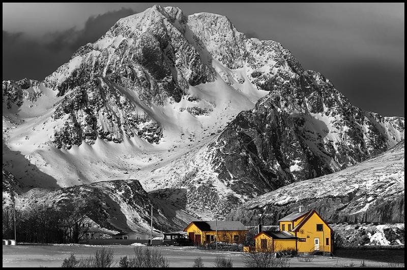 8056GH-Lofoten-sw-mit-gelben-Häusern