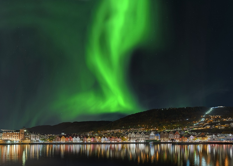 Nordlicht in Bergen Norwegen