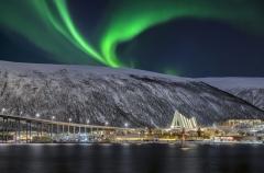 Nordlicht in Svolvaer Lofoten Norwegen