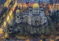Riga Lettland Kirche orthodox beleuchtet