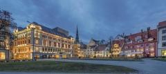 Riga Lettland Grosse Gilde Platz beleuchtet