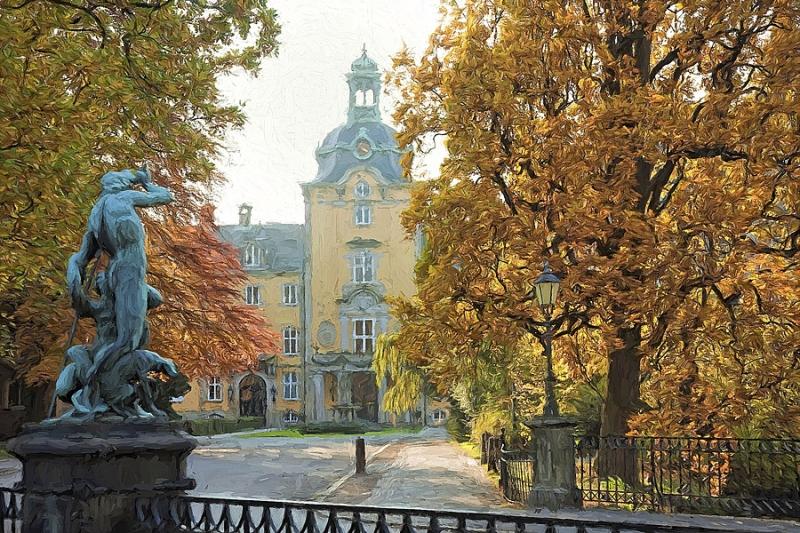 4953G Schloss Bückeburg Herbst gemalt 60x90 Print