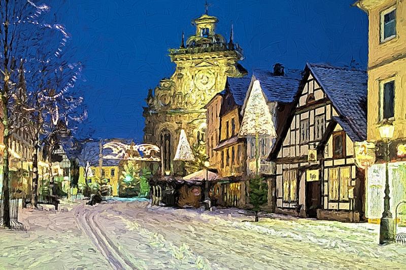 5061c,63,65,67 Bückeburg Stadtkirche im Schnee gemalt 80x60 Druck