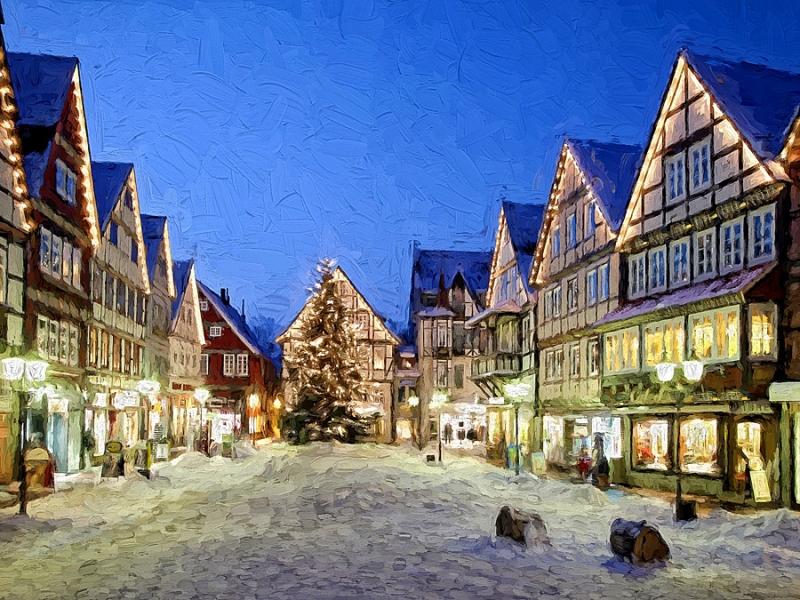 827F-830F Marktplatz Rinteln Winter gemalt Druck 60x80