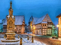 9246N-51N Marktplatz Obernkirchen Winter beleuchtet gemalt Druck 80x60